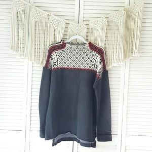 FREE PEOPLE Black Patterned Turtleneck Sweater L